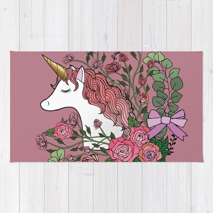 Unicorn in a Pink Rose Garden Rug