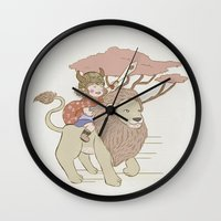 onward Wall Clocks featuring Onward Feline Steed! by PaperPanda Books