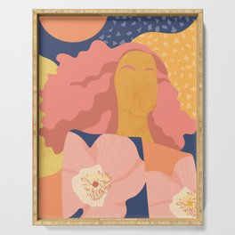 Women with eyebrow in the desert with flowery coat Serving Tray