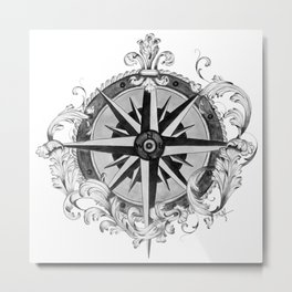 Black and White Scrolling Compass Rose Metal Print