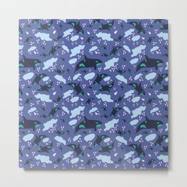 Oh Whale, raining whales Metal Print