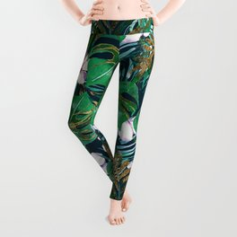 Tropical forest green lilac gold monster leaves floral Leggings