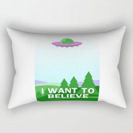 """I want to believe"" cartoon style Rectangular Pillow"