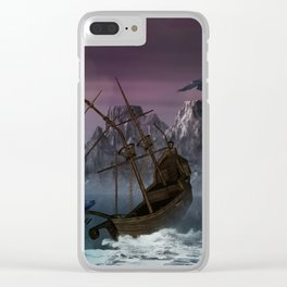 Awesome shipwreck in the night Clear iPhone Case