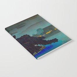Vintage Japanese Woodblock Print Raining Landscape Tree On Rock Leaning Into The Lake Comforting Nig Notebook