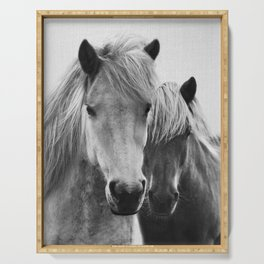 Horses - Black & White 7 Serving Tray
