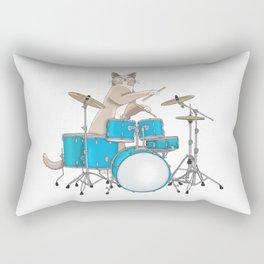 Cat Playing Drums - Blue Rectangular Pillow