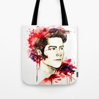 stiles Tote Bags featuring Stiles Stilinski  by Sterekism