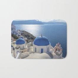 Santorini Island with churches and sea view in Greece Bath Mat
