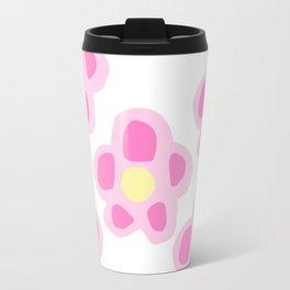 Pink Floral Print Travel Mug