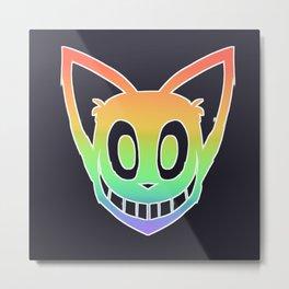 Rainbow Cat Head (white outline) Metal Print