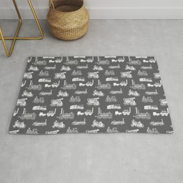 Antique Steam Engines // Charcoal Grey Rug