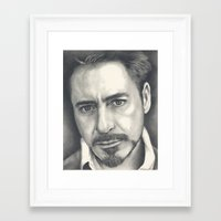 robert downey jr Framed Art Prints featuring Robert Downey Jr by Heather Andrewski