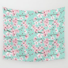 Cherry blossom mint green and pink Wall Tapestry