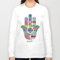 hamsa Long Sleeve T-shirts featuring Hamsa  by Gabriel J Galvan