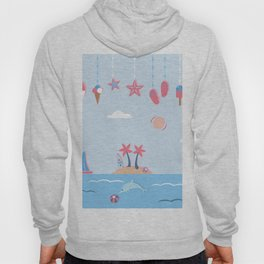 Cute Summer background with hanging icons Hoody