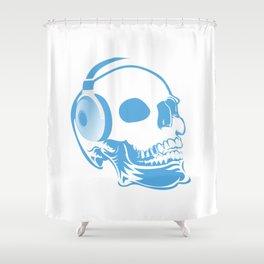 Skull with headphones Shower Curtain