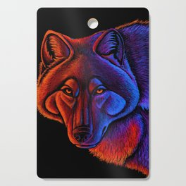 Fire Wolf Colorful Fantasy Animals Cutting Board