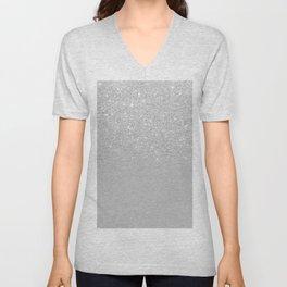 Trendy modern silver ombre grey color block Unisex V-Neck