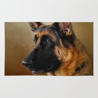 german shepherd Area & Throw Rugs featuring Best in Show - German Shepherd by Jai Johnson
