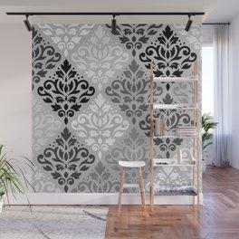 Scroll Damask Ptn Art BW & Grays Wall Mural
