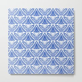 Butterfly and Flower Pattern Blue Metal Print
