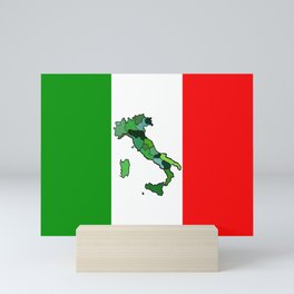 Map of Italy and Italian Flag Mini Art Print