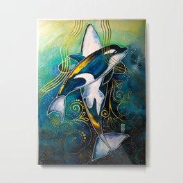 A Whimsical Orcas Metal Print