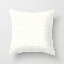 Medium Lemon Yellow on White Polka Dots Throw Pillow