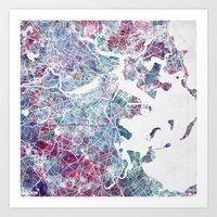boston map Art Prints featuring Boston map by MapMapMaps.Watercolors
