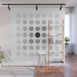 Black and White centered lines Wall Mural