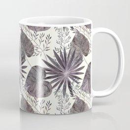 Gray tropical pattern on light beige background. Coffee Mug