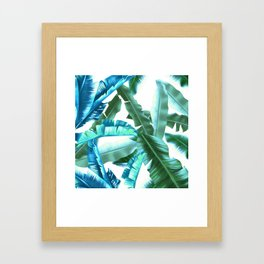 tropical banana leaves pattern turquoise Framed Art Print