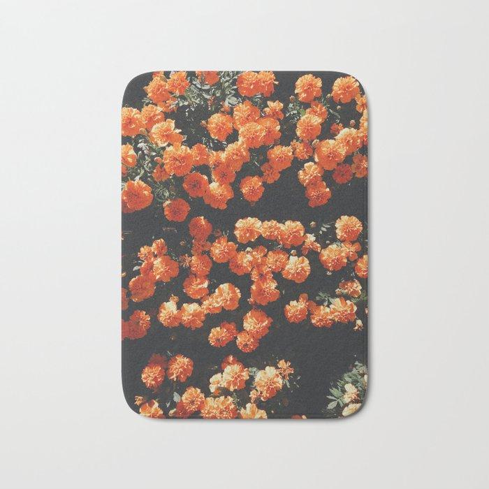 Orange Flowers Everywhere Bath Mat
