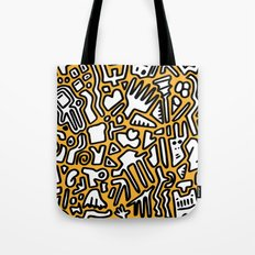 black doodle on orange Tote Bag