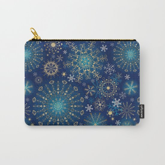 Blue gold snowflakes  Carry-All Pouch