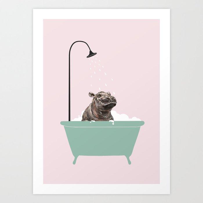 Hippo Enjoying Bubble Bath Kunstdrucke