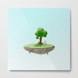 Low Poly Bunny Island Metal Print
