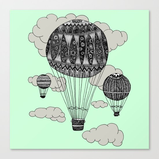 mint balloon square Canvas Print