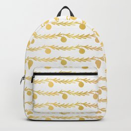 Luxe Gold Foil Christmas Tree Branch Bauble Stripes, Seamless Vector Backpack