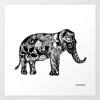 ganesh Art Prints featuring Ganesh by doctusdesign