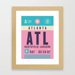 Retro Airline Luggage Tag - ATL Atlanta Hartsfield Jackson Framed Art Print