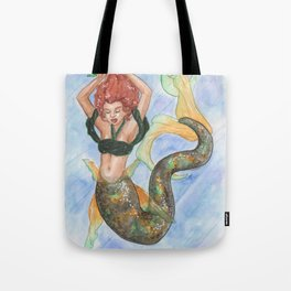 Mermaid tying her hair Tote Bag