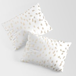 Luxe Gold Painted Polka Dot on White Pillow Sham