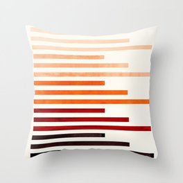 Brown Minimalist Abstract Mid Century Modern Staggered Thin Stripes Watercolor Painting Throw Pillow