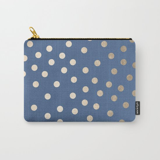 Simply Dots White Gold Sands on Aegean Blue Carry-All Pouch