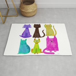Crazy Colorful Cats Rug