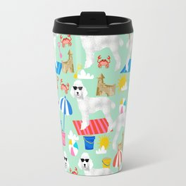Poodle white coat beach fun in the sun dog breed pet portraits pet friendly dog breeds Travel Mug