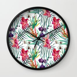 Tropical Watercolor Palm Fronds Wall Clock