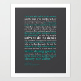 Man in the Arena / Theodore Roosevelt Grey & Teal Art Print